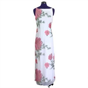 City Triangles White Pink Floral Maxi Dress